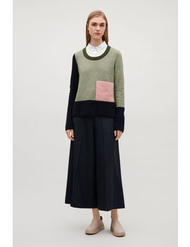 Colour Block Jumper With Pocket by Cos