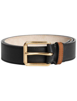 Two Tone Trench Leather Belt by Burberry