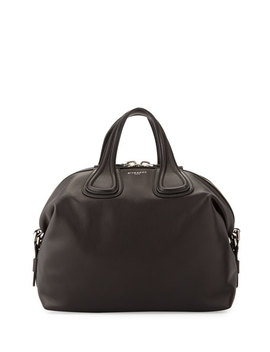 Nightingale Medium Waxy Leather Satchel Bag, Black by Givenchy