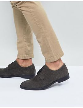 Asos Casual Brogue Shoes In Grey Suede With Distressed Sole by Asos