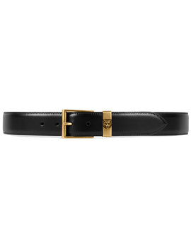 Leather Belt With Feline Head by Gucci