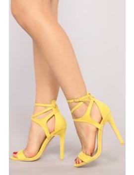 Wrapped Around My Finger Heel   Yellow by Fashion Nova