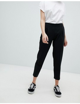 Pull&Bear Relaxed Peg Leg Pants In Black by Pull&Bear