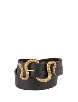 Leather Snake Buckle Belt by Gucci