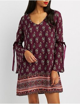 Printed V Neck Shift Dress by Charlotte Russe