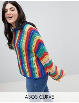 Asos Design Curve Crochet Jumper With Flared Sleeve In Bright Stripe by Asos Curve