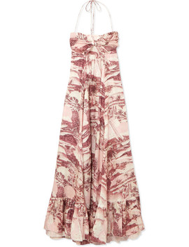 Kali Printed Linen Halterneck Maxi Dress by Zimmermann