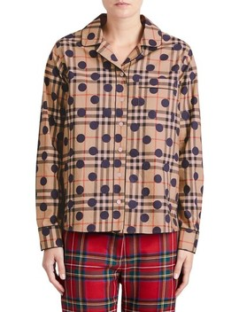 Polka Dot Check Print Cotton Shirt by Burberry