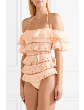 Painted Heart Love Tiered Lattice Trimmed Swiss Dot Lace Swimsuit by Zimmermann