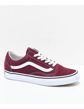 Vans Old Skool Burgundy & White Skate Shoes by Vans