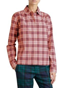 Pearl Trim Signature Plaid Blouse by Burberry