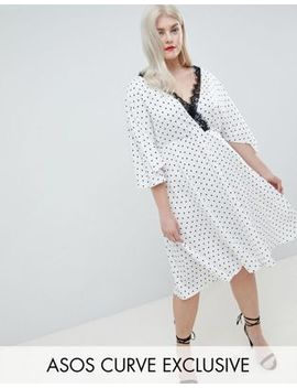 Asos Design Curve Exclusive Spot Lace Trim Kimono Midi Dress by Asos Design