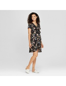 Maternity Floral Short Sleeve Ruffle Surplice Dress   Ma Cherie Black by Ma Cherie
