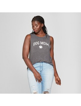 Women's Plus Size Mother's Day Dog Mom Graphic Tank Top   Modern Lux (Juniors') Charcoal by Modern Lux