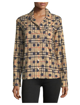 Checked Dot Print Long Sleeve Shirt by Burberry