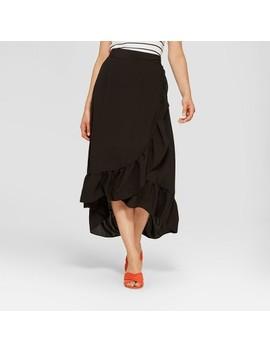 Women's Ruffle Wrap Maxi Dress   Notations Black by Target