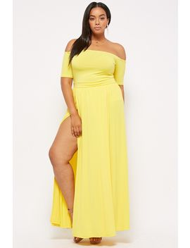 Plus Size Off The Shoulder Maxi Skort Romper by Forever 21