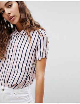 Bershka Cropped Shirt In Pink Stripe by Bershka