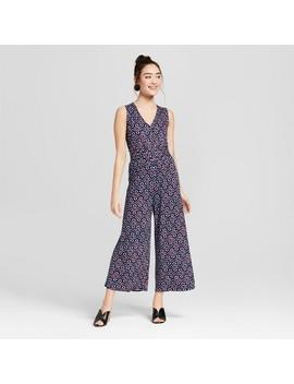 Women's Floral Print Sleeveless V Neck Smocked Waist Jumpsuit   Xhilaration™ Navy S by Xhilaration™
