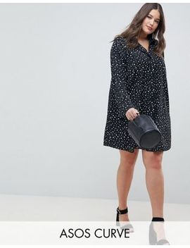 Asos Design Curve Long Sleeve Shirt Mini Dress In Scatter Spot by Asos Design