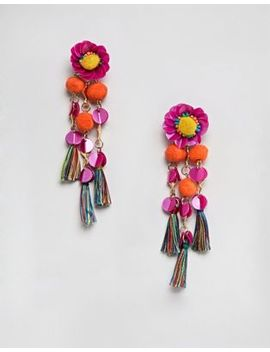 Asos Design Sequin And Pom Flower Tassel Drop Earrings by Asos Design