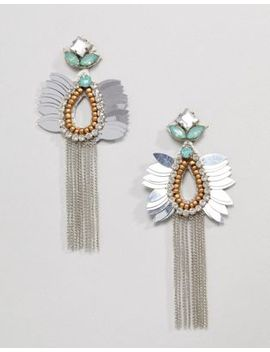 Asos Design Beaded Jewel And Chain Tassel Earrings by Asos Design