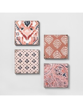 Mixed Pattern 4pk Wall Decor Set Pink   Opalhouse™ by Shop This Collection