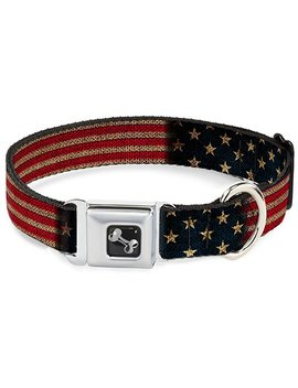 Buckle Down Seatbelt Buckle Dog Collar   Vintage Us Flag Stretch by Buckle Down