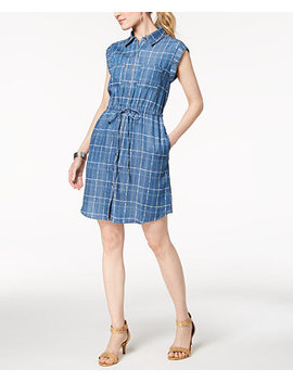 Chambray Drawstring Waist Shirtdress, Created For Macy's by Style & Co