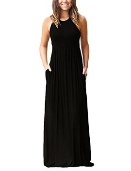Grecerelle Women's Sleeveless Racerback Loose Plain Maxi Dresses Casual Long Dresses With Pockets by Grecerelle