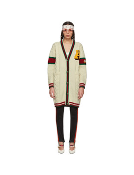 White Wool 'guccy' Tiger Cardigan by Gucci
