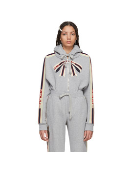 Grey Bow Neck Logo Zip Hoodie by Gucci