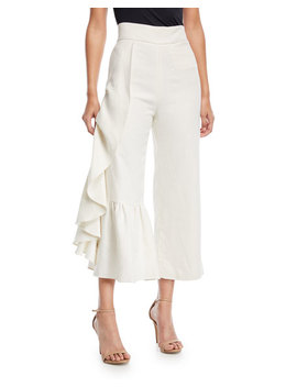 Lainey Wide Leg Linen Pants With Ruffled Frill by Alexis