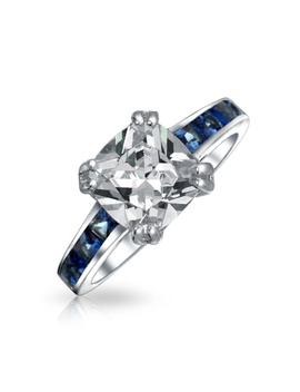 Sterling Silver Princess Cut Cz Simulated Sapphire Engagement Ring by Bling Jewelry