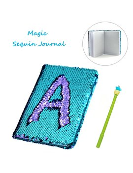 Sequin Notebook – 2 Color Mermaid Reversible Sequin Journal – Magic Travel Journal Notebook Gift For Adults And Kids (Purple Blue) by Jacham