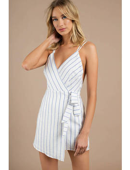 Believe It Or Not Blue And White Wrap Dress by Tobi