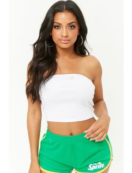 Embroidered Lemon Graphic Cropped Tube Top by Forever 21