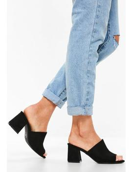 Black Faux Suede Mid Flared Heel Peep Toe Mules by Missguided