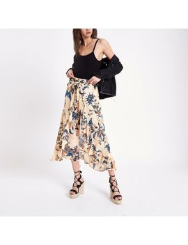 Cream Floral Wide Leg Pants by River Island