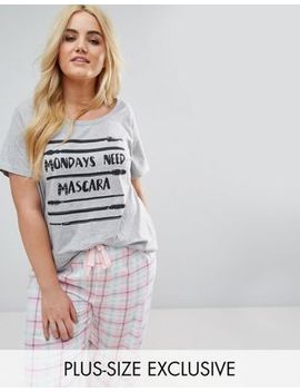 Yours Monday Need Mascara Pj T Shirt by Yours