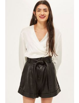 High Waisted Leather Shorts by Topshop