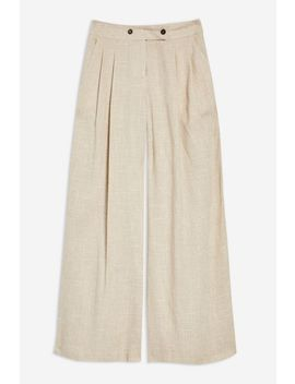 Linen Mix Wide Trousers by Topshop