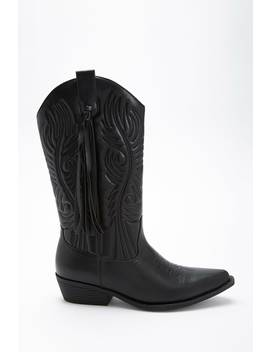 Faux Leather Tasseled Boots by F21 Contemporary
