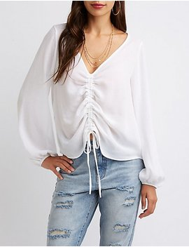 Gauze Cinched V Neck Top by Charlotte Russe
