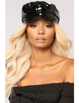 Zoey Patent Leather Cabby Hat   Black by Fashion Nova