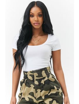 Scoop Neck Cropped Tee by Forever 21