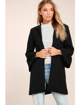 Flare Affair Black Flounce Sleeve Coat by Lulus