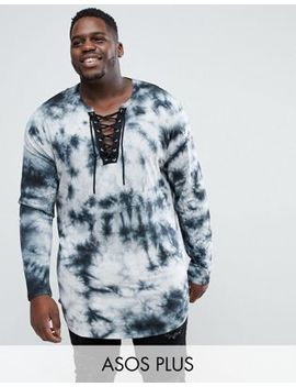 Asos Plus Longline Long Sleeve T Shirt With Lace Up Neck In Tie Dye by Asos