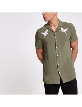 Khaki Crane Embroidered Revere Shirt                                  Khaki Crane Embroidered Revere Shirt by River Island