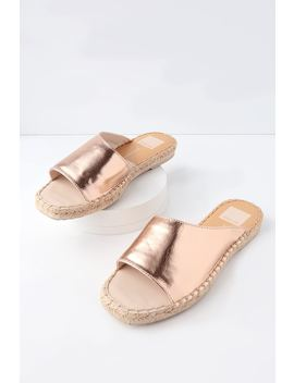 Banji Rose Gold Espadrille Slide Sandals by Dolce Vita